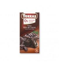 Шоколад без сахара Torras Dark Chocolate With Cocoa Nibs 75g