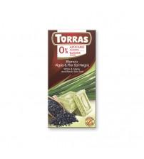 Шоколад без сахара Torras White Chocolate With Algae & Black Sea Salt 75g