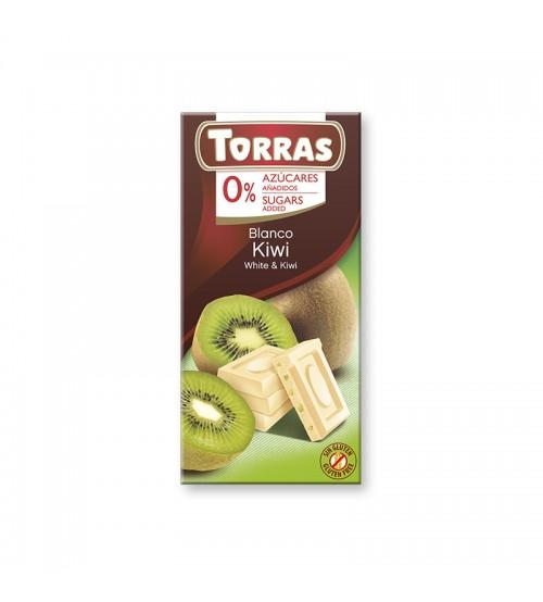 Шоколад без сахара Torras White Chocolate With Kiwi 75g