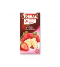 Шоколад без сахара Torras White Chocolate With Strawberries 75g